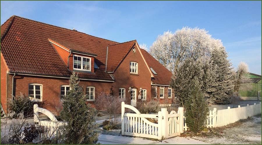 Urlaubseindrücke Haus Friesenglück in Kolkerheide, Nordfriesland - Winteransicht